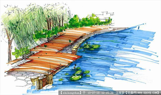 园林效果图,手绘效果,园林景观