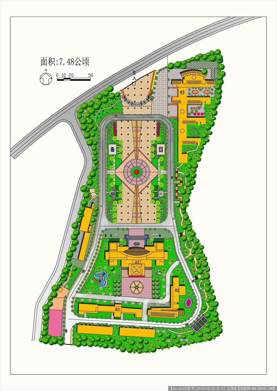景观设计平面图ps_PS校园广场总平面图