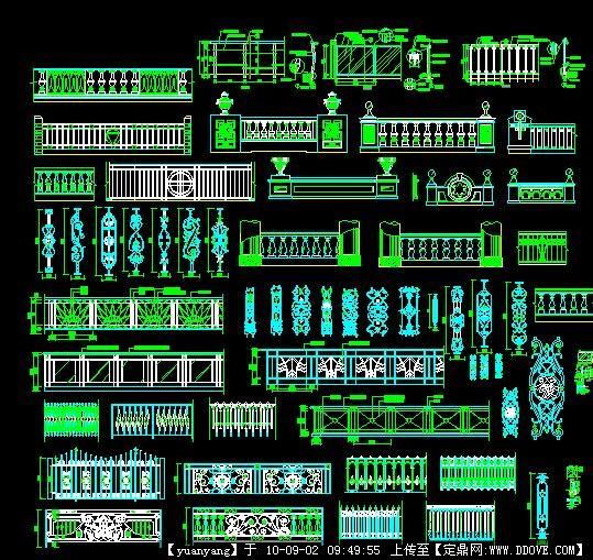 最全的CAD西式栏杆连翘图库cad图片