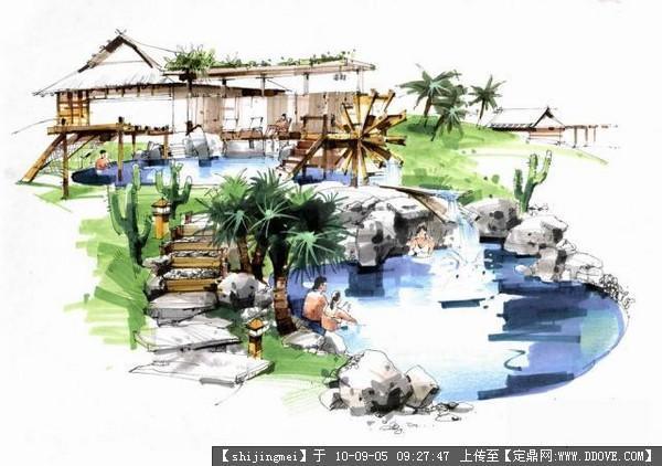 手绘效果图集的下载地址,园林效果图,手绘效果,园林景观设计施