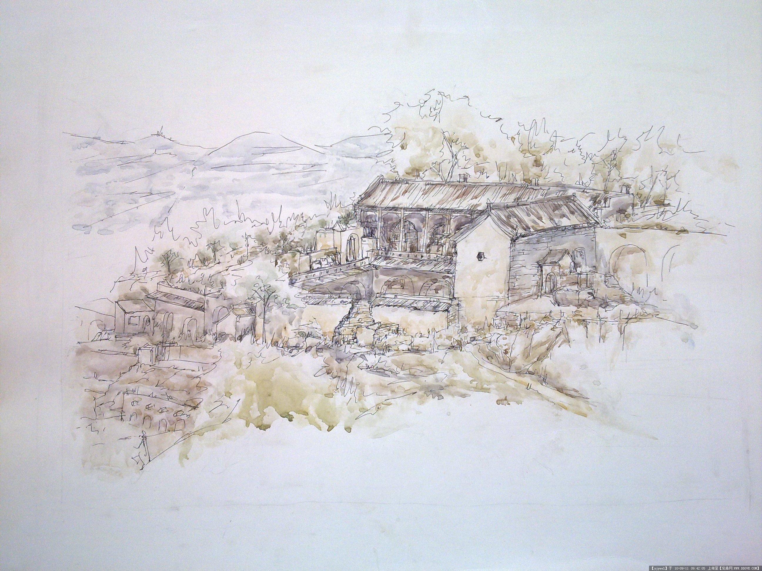 建筑风景钢笔画临摹图 简单钢笔画图片大全最简单  简单铅笔风景速写