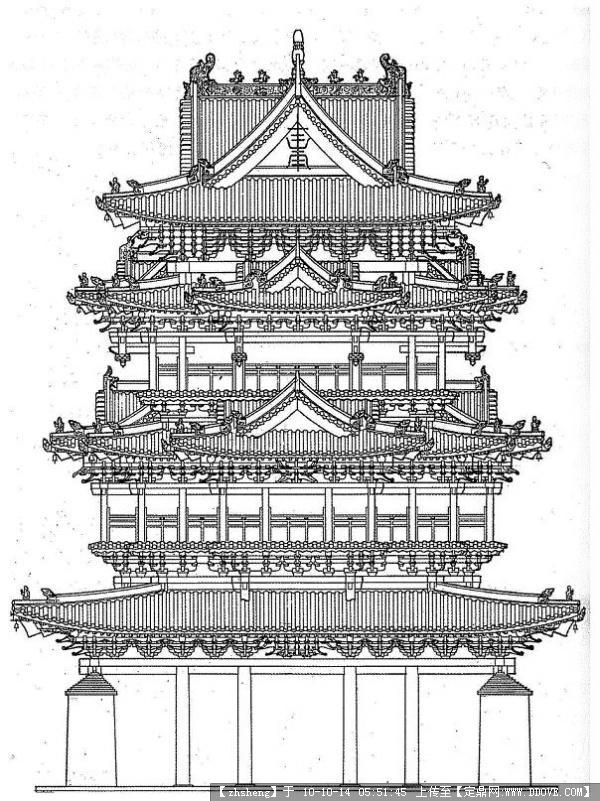西安古建筑速写 手绘古建筑图片古建筑手绘素描