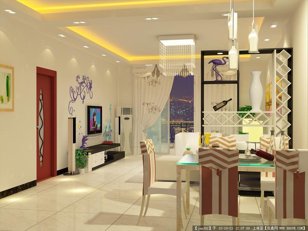 载地址,室内效果图,住宅样板,室内装饰设计施工图纸资料下载