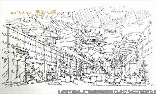 手绘室内空间线稿图图片大全 室内效果图 其他空间 手绘线
