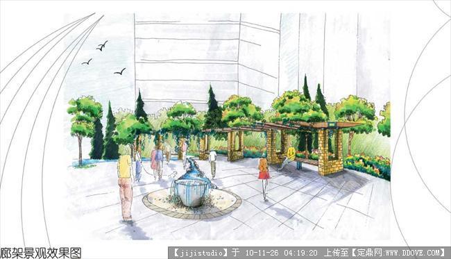 日式庭院手绘效果图图片大全_日式庭院手绘效-廊架效果图,浙江防