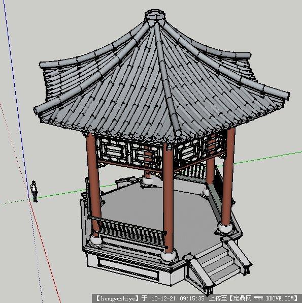 古代亭子图纸座椅完成的很精细全自动草图大师装配线图片