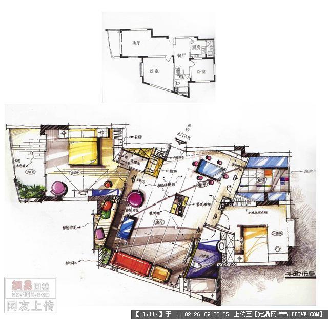 室内马克笔手绘平面图图片 马克笔手绘室内效果图,景观平面