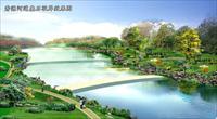 某河道叠石驳岸绿化景观效果图一张-PSD