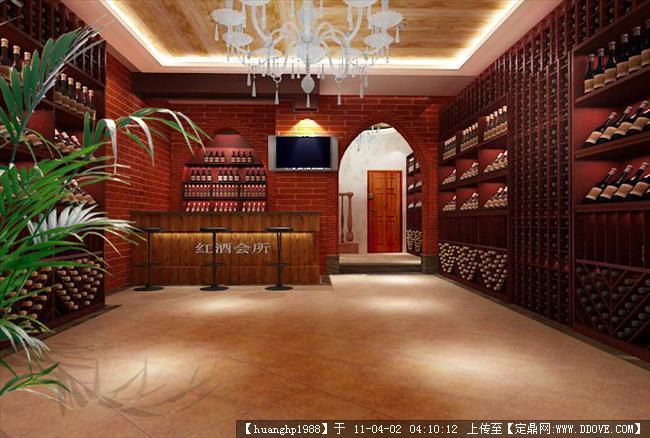 红酒会所效果图_室内效果图一张中图-红酒展厅柜台