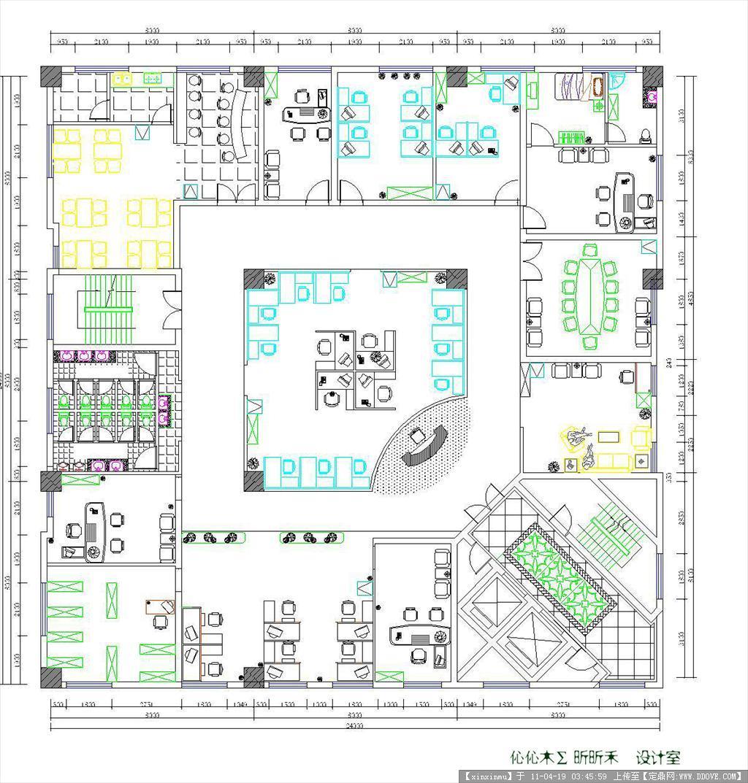 办公空间设计CAD平面图图片