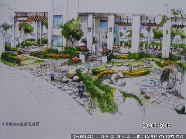 园林 效果图 街头 绿地 园林设计, 景观 设计,园林