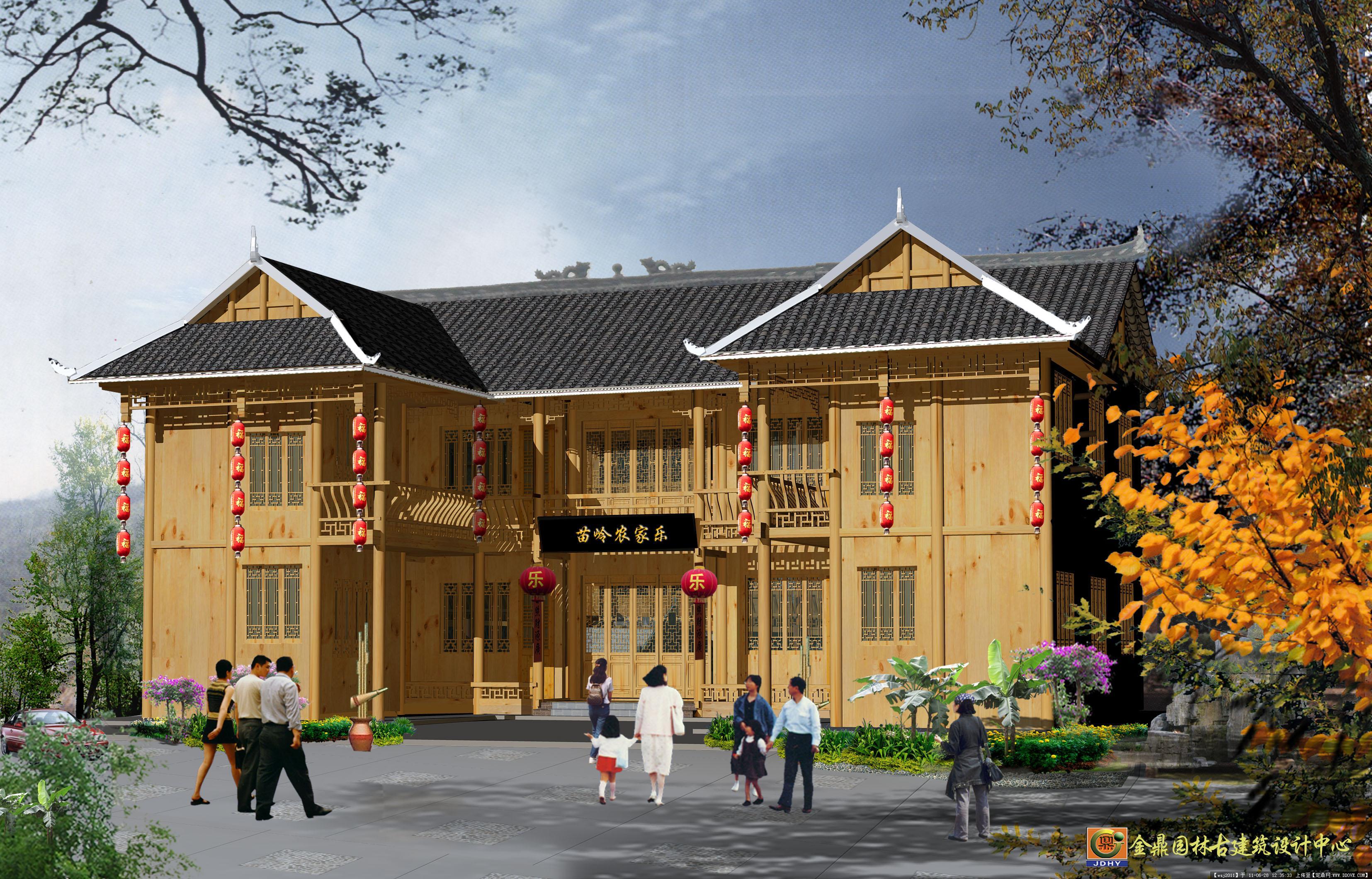 第张:苗家楼-农家乐2.jpg  景观规划设计及效果图制作,别墅庭