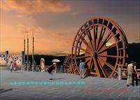 效果图/景观水车效果图/2种样式中图