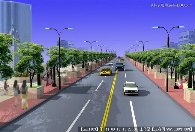 道路两侧的绿化景观设计效果图的图片浏览,园林效果图,道路